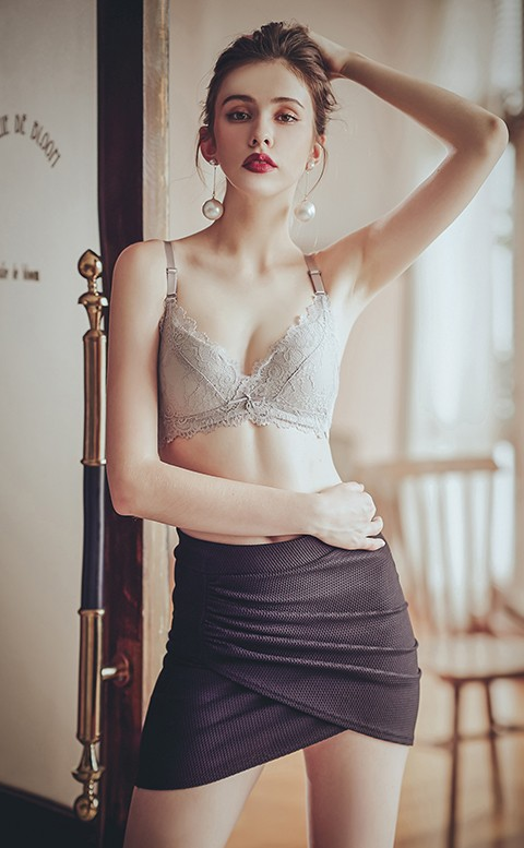 傲慢舞孃 蕾絲美背無鋼圈內衣 A-B anSubRosa - 灰色