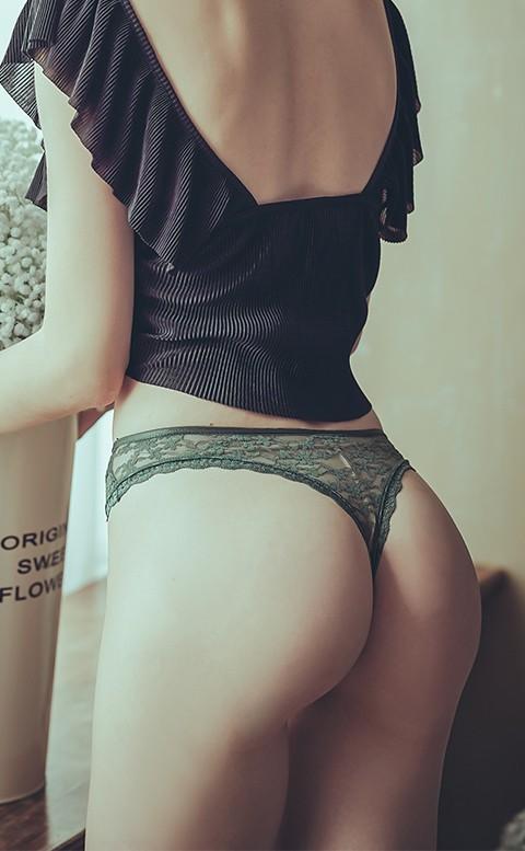 甜蜜烙印 緞帶蕾絲透膚丁字褲 FREE anSubRosa - 綠色