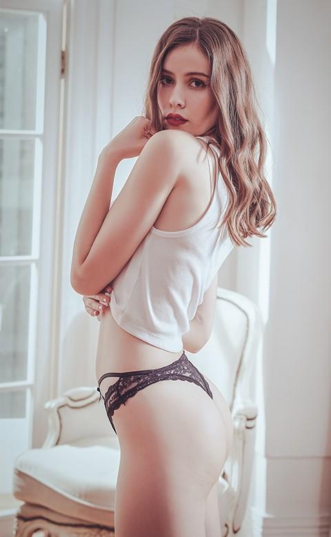 甜蜜烙印 緞帶蕾絲透膚丁字褲 FREE anSubRosa - 黑色
