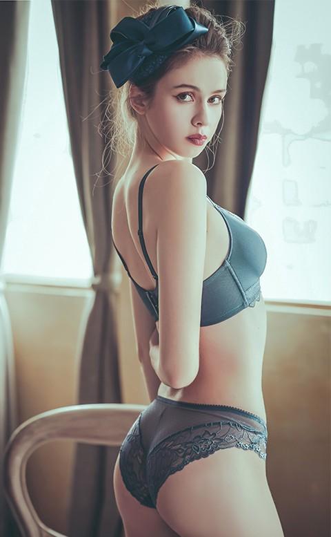 夜雨中曲 性感蕾絲低腰內褲 S-XL anSubRosa - 藍色
