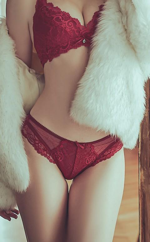 夜雨中曲 性感蕾絲低腰內褲 S-XL anSubRosa - 紅色