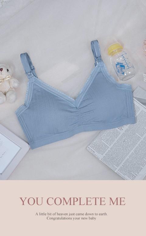 優雅鬱香 無鋼圈肩開式哺乳內衣 36-44 Leinear - 藍色