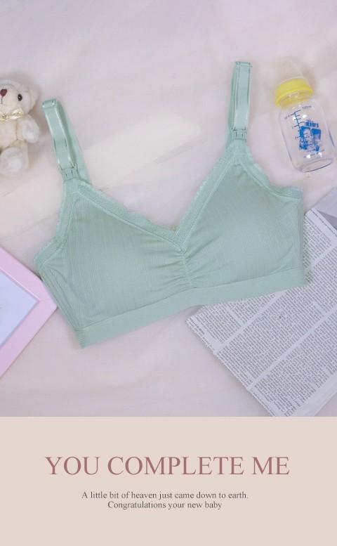 優雅鬱香 無鋼圈肩開式哺乳內衣 36-44 Leinear - 綠色