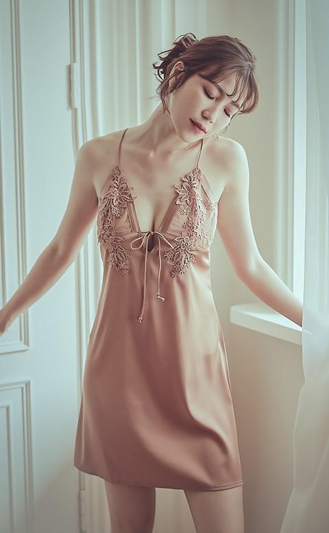 床邊餘韻 無襯雕花蕾絲連身睡衣 M-L anSubRosa - 棕色