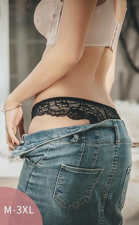 晚安布朵兒 蕾絲寬版美臀丁字褲 M-3XL nalla - 黑色