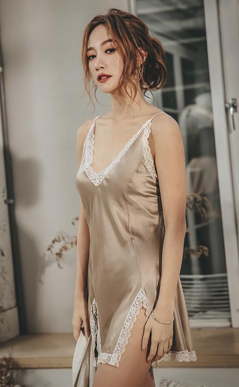 慾望摩卡 緞面蕾絲連身睡衣 FREE anSubRosa - 香檳咖
