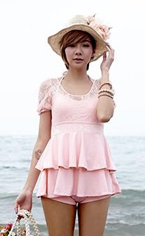 復古設計宮廷感蕾絲連身泳衣 M-XL AINIA - 粉紅