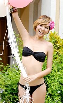 平口蝴蝶結造型抹胸兩穿式比基尼 XS-XL AINIA - 黑色
