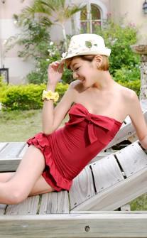 甜美荷葉連身兩件式泳衣 M-XL AINIA - 酒紅