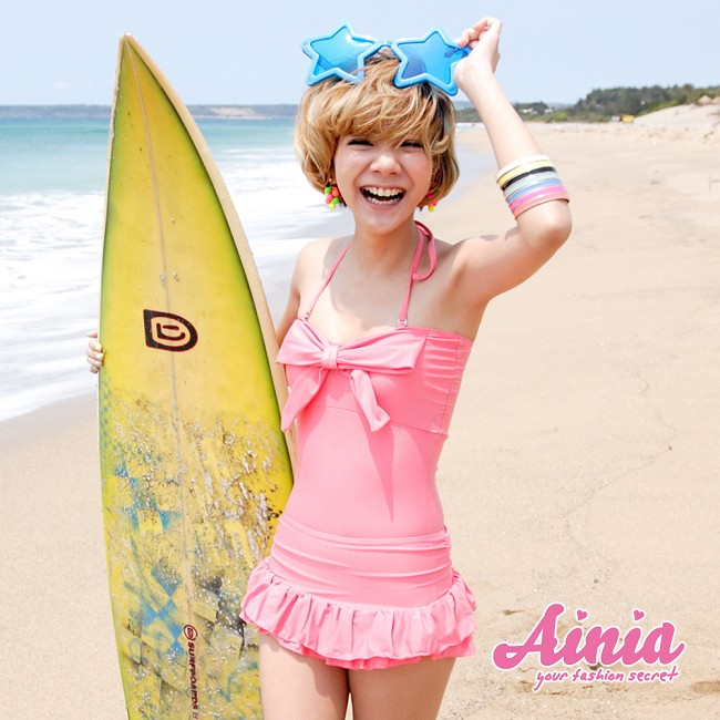 【首購免運費】甜美荷葉連身兩件式泳衣 M-XL AINIA