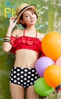 韓風復古高腰兩件式泳衣 M-XL AINIA - 紅色