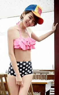 高腰兩件式鋼圈比基尼/泳衣 M-XL AINIA - 粉紅