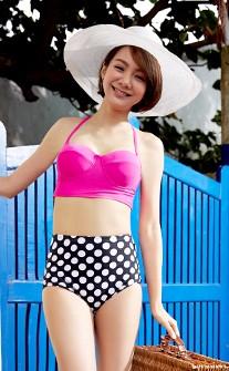 簡約高腰點點比基尼泳衣 S-XL AINIA - 粉紅