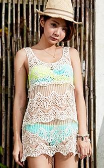 白雪蕾絲刺繡透膚泳衣罩衫 FREE AINIA - 黃色