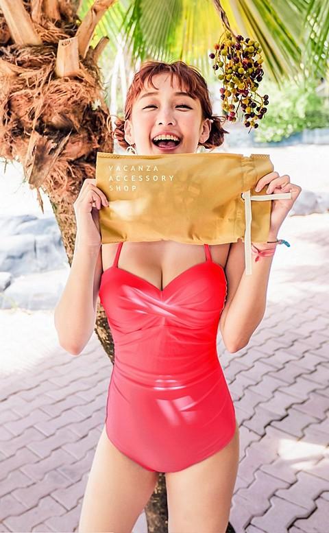 性感維多 扭結露背顯瘦連身泳衣 M-L AINIA - 玫紅