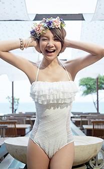 背鏤空透膚蕾絲連身泳衣 M-L AINIA - 白色
