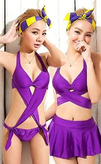 三件式四穿鋼圈比基尼 S-3XL AINIA - 紫色