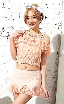 華麗風格蕾絲三件式比基尼 M-XL AINIA - 粉紅