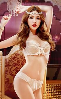 性感女神 精緻蕾絲無襯成套內衣褲 A-D anSubRosa - 白色