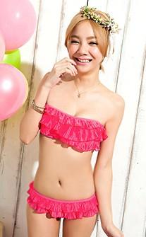 甜美千層荷葉比基尼泳衣 M-XL AINIA - 桃紅