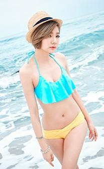 甜心女孩 甜心波浪二件式比基尼 M-2XL AINIA - 藍色