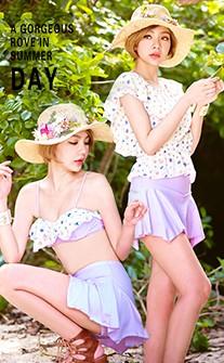 氣質小花三件式兩穿泳衣 M-XL AINIA - 紫色