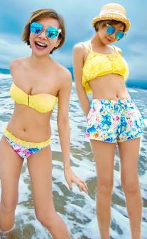 雞蛋花俏麗蕾絲鋼圈泳衣 M-XL AINIA - 黃色