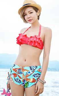 陽光夏日四件式泳衣 M-XL AINIA - 桃紅