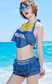 甜心運動女孩蛋糕裙比基尼泳衣 M-XL AINIA - 藍色