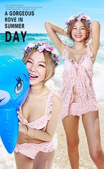 可愛水玉荷葉邊三件式泳衣 M-XL AINIA - 粉紅