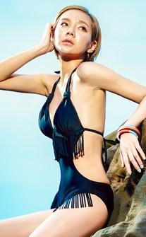歐美風尚性感背鏤空流蘇連身泳衣 M-XL AINIA - 黑色