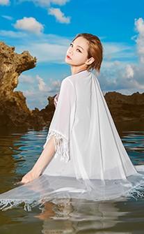 嬉皮流蘇雪紡質感長版泳衣罩衫 FREE AINIA - 白色