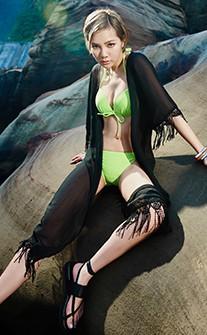 嬉皮流蘇雪紡質感長版泳衣罩衫 FREE AINIA - 黑色