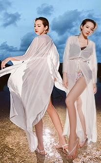 歐美時尚飄逸長版外搭衣 FREE AINIA - 白色