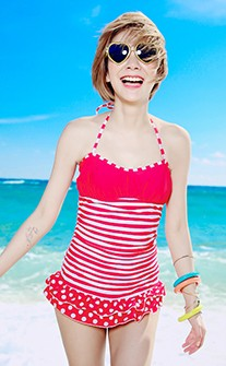 經典拼貼條紋點點連身式泳衣 M-XL AINIA - 紅色