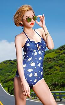 簡約小花連身式泳衣 M-XL AINIA - 藍色