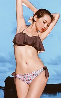 甜蜜豹紋荷葉顯瘦兩件式鋼圈泳衣 M-XL AINIA - 黑色