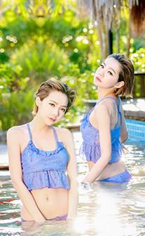 二件式美背顯瘦鋼圈泳裝 M-XL AINIA - 紫色