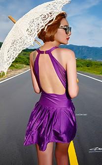 性感後背鏤空連身縮腰泳衣 M-2XL AINIA - 紫色