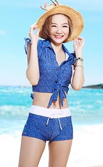 率性丹寧三件式兩穿鋼圈泳衣 M-XL AINIA - 藍色