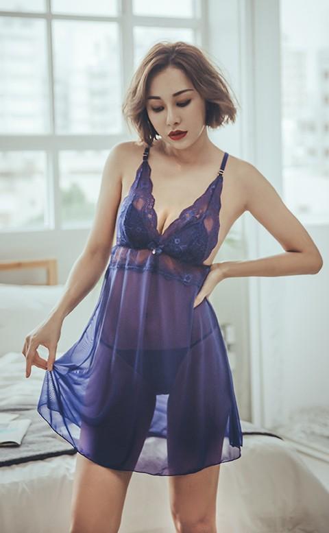 狂野費洛蒙 性感無襯蕾絲網紗兩件式睡衣 S-XL anSubRosa - 藍色