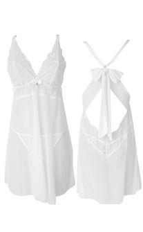 狂野費洛蒙 性感無襯蕾絲網紗兩件式睡衣 S-XL anSubRosa - 白色