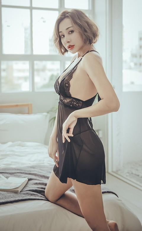 狂野費洛蒙 性感無襯蕾絲網紗兩件式睡衣 S-XL anSubRosa - 黑色