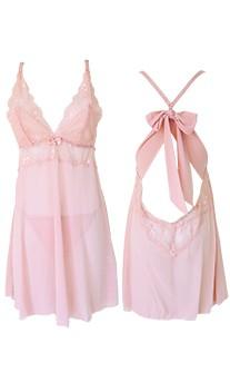 狂野費洛蒙 性感無襯蕾絲網紗兩件式睡衣 S-XL anSubRosa - 粉紅