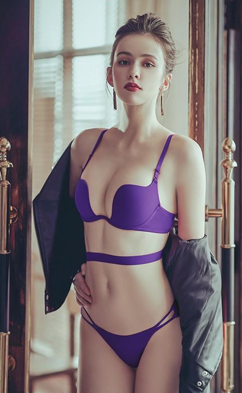 男友最愛 性感W型無痕罩杯內衣褲 B-D anSubRosa - 紫色