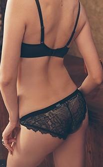 慾望秘境 透視蕾絲誘惑低腰三角內褲 S-XL anSubRosa - 黑色