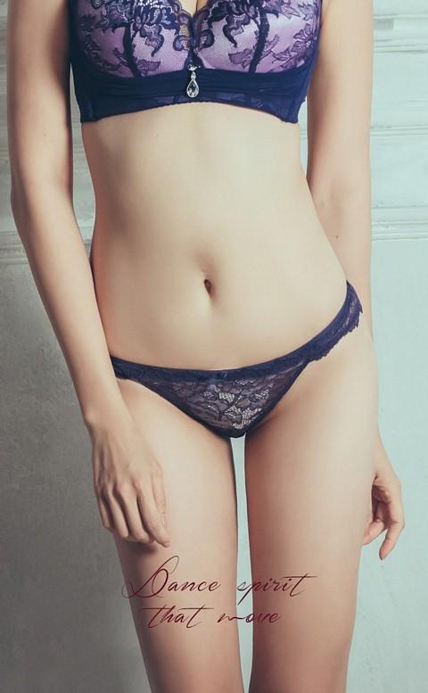 慾望秘境 透視蕾絲誘惑低腰三角內褲 S-XL anSubRosa - 藍色