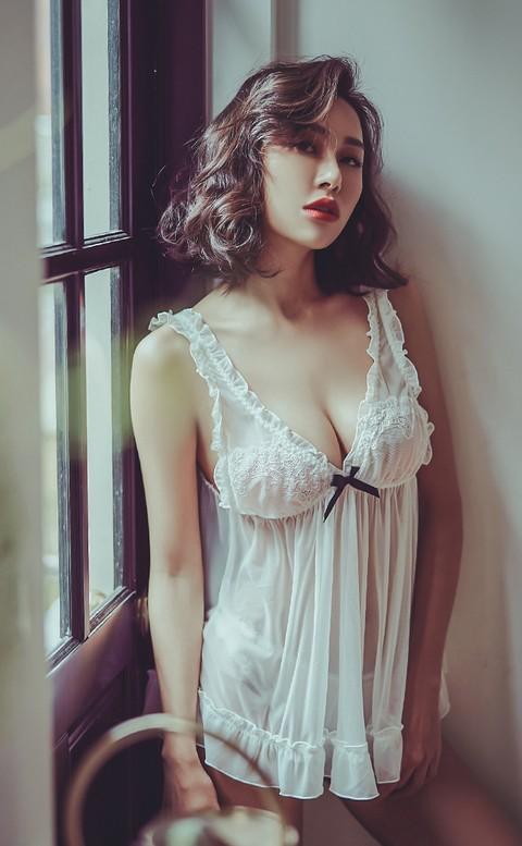誘惑潘朵拉 透視感無襯性感睡衣 FREE anSubRosa - 白色