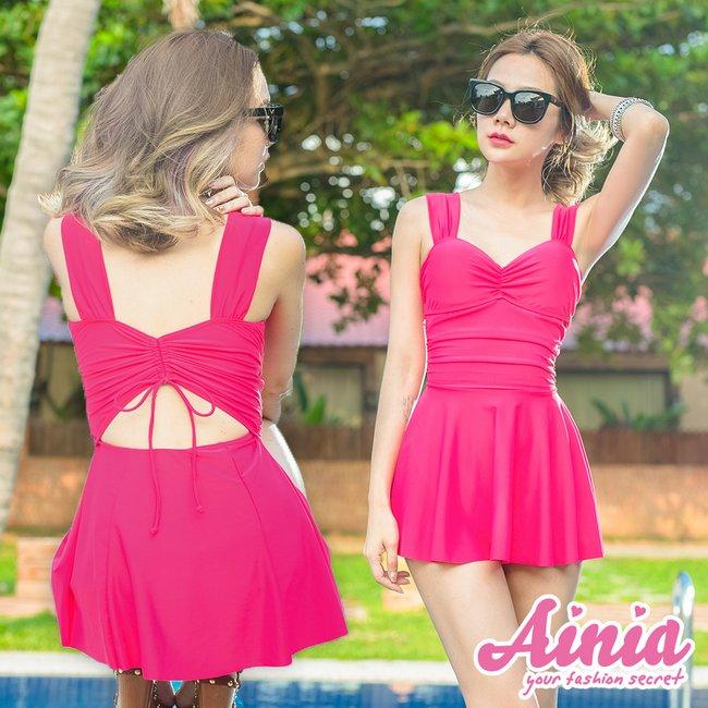 裙擺搖搖 鏤空美背纖腰連身兩件式鋼圈泳衣 M-XL AINIA,泳衣,連身泳衣,Ania,Alnla,One Girl