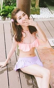 粉嫩甜心 優雅削肩兩件式比基尼 M-L AINIA - 粉紅